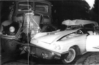 Buscaglione's wrecked Ford Thunderbird after the  collision in Rome that cost him his life