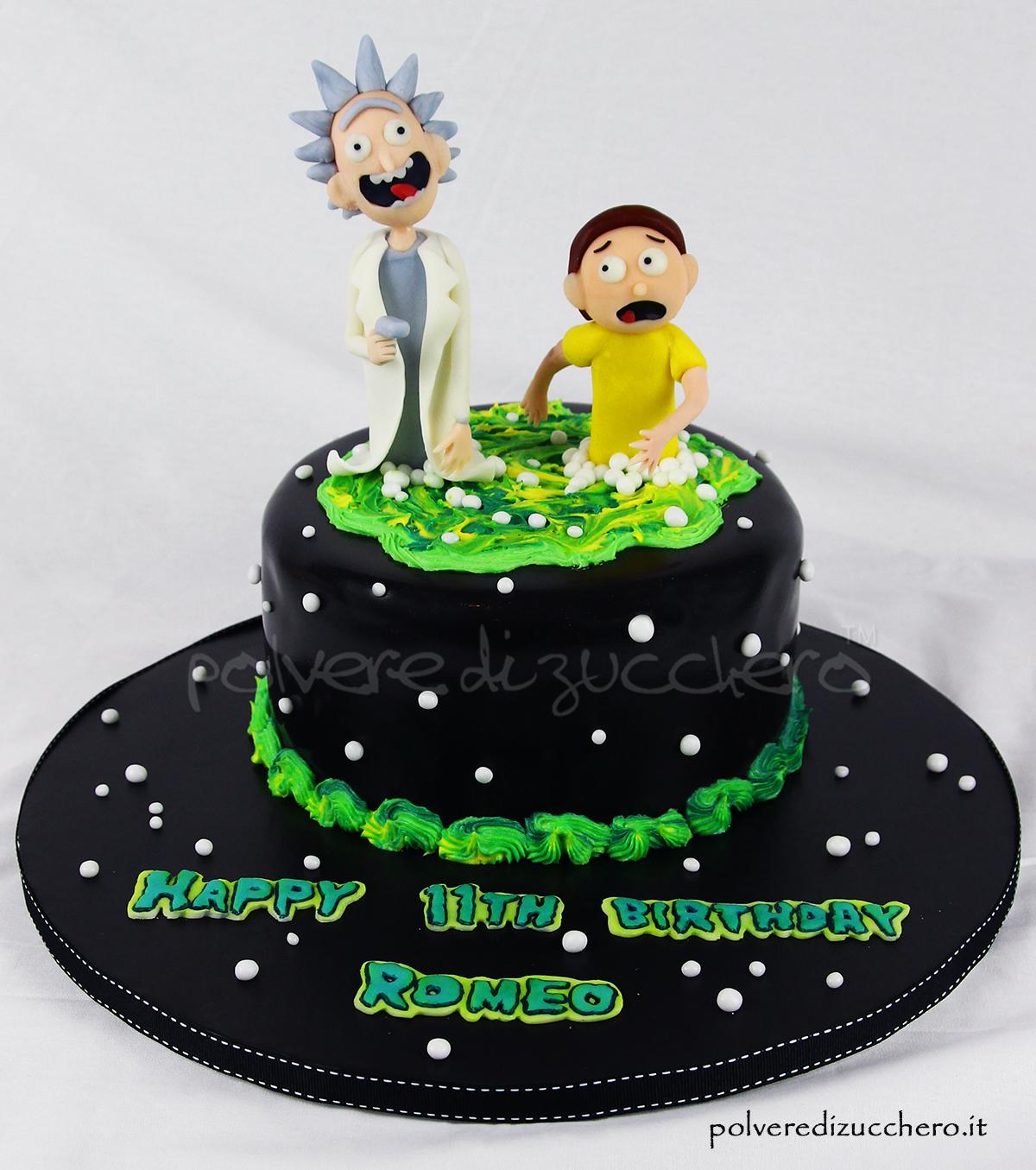 torta decorata rick  morty cake design pasta di zucchero polvere di zucchero copleanno bambini rick e morty cake