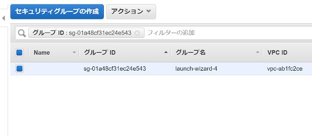 Amazon Linux 2のセキュリティグループ選択