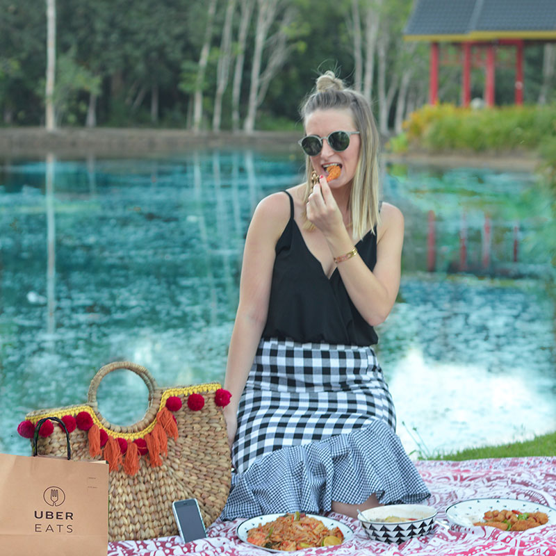eating UberEATs at Cairns friendship garden centenary lakes
