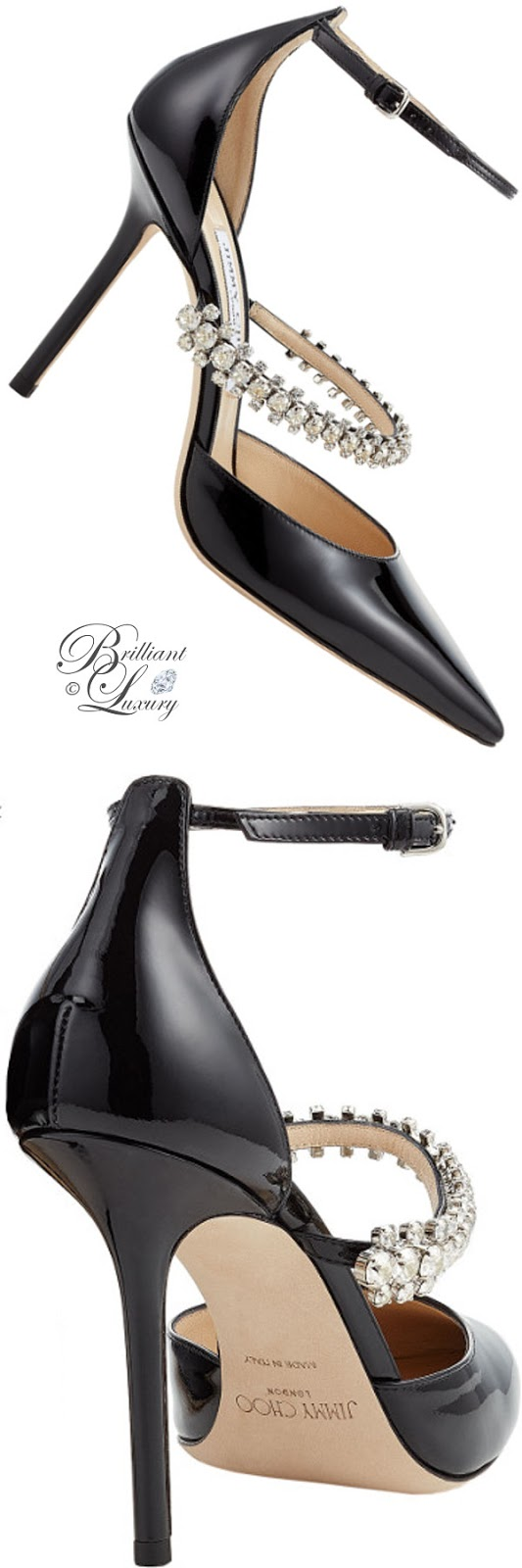 optimized pins Brilliant Luxury ♦ Jimmy Choo Bobbie Black Patent Leather Pointy Toe Pumps with Crystal Strap #brilliantluxury