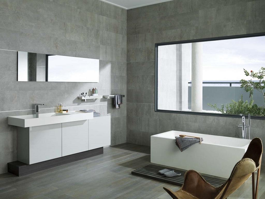Casas de banho  branco e cinza  a combinao do momento