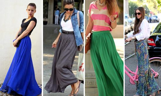 1be12551d Meninas, a-d-o-r-e-i que as saias longas voltaram! Até um tempo atrás eu  estava relembrando que nos anos 90 usou-se muito saia longa e depois  sumiram do ...