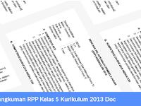 Rangkuman RPP Kelas 5 Kurikulum 2013 Doc