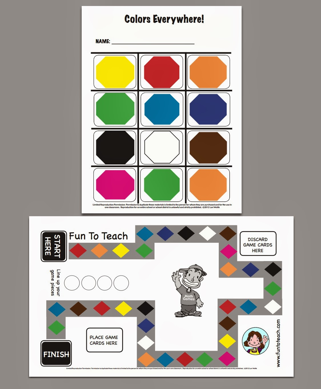 http://www.teacherspayteachers.com/Product/Kinder-Color-Game-Board-and-Color-Cards-291911