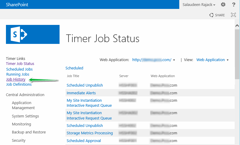 sharepoint 2013 timer job history powershell