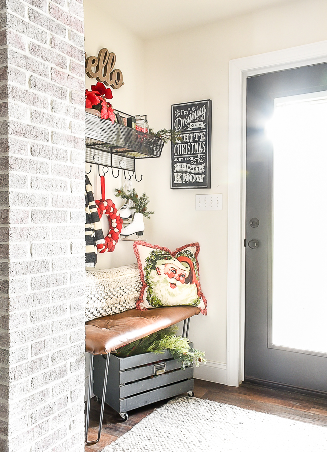 Classic Christmas mudroom