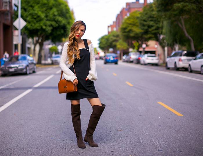 Sezane jefferson dress, overall dress, sezane patti bag, crossbody bag, white off shoulder sweater, tory burch over the knee boots, nordstrom sale, san francisco fashion blog, san francisco street style, thanksgiving outfit ideas, holiday outfit ideas, how to dress young