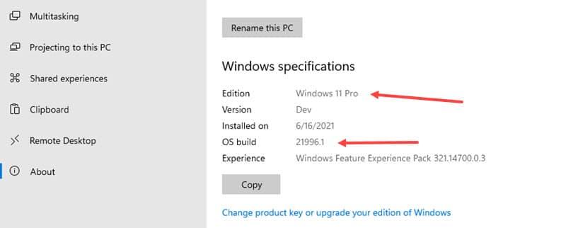 Windows 11 Version Settings Page