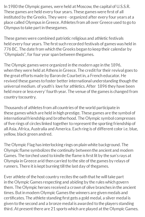 olympic essay in english On this basis it ensures the regular celebration of the olympic games, supports all affiliated member organizations of the olympic movement and strongly encourages, by appropriate means, the promotion of the olympic values, is the creed for the ioc.