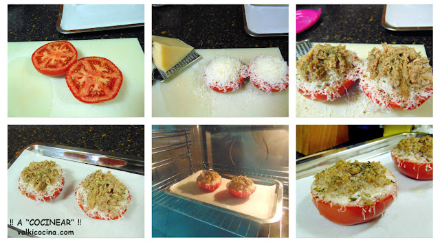 Tomates al horno gratinados con atún