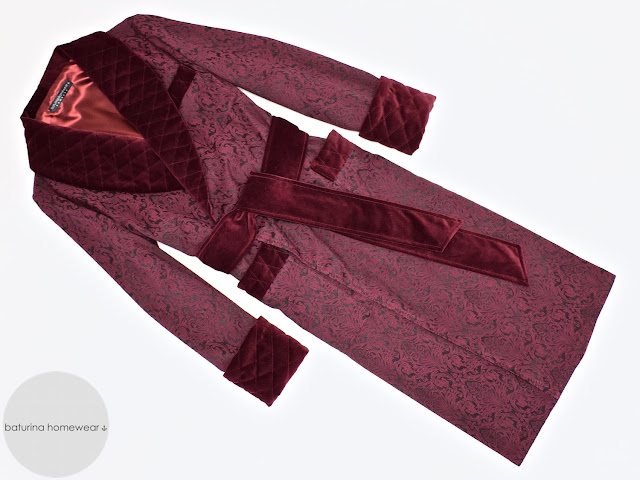 mens burgundy paisley dressing gown extra long red silk robe warm velvet smoking jacket quilted