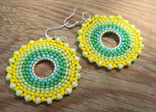 купить круглые серьги из бисера в стиле бохо украшения ручной работы