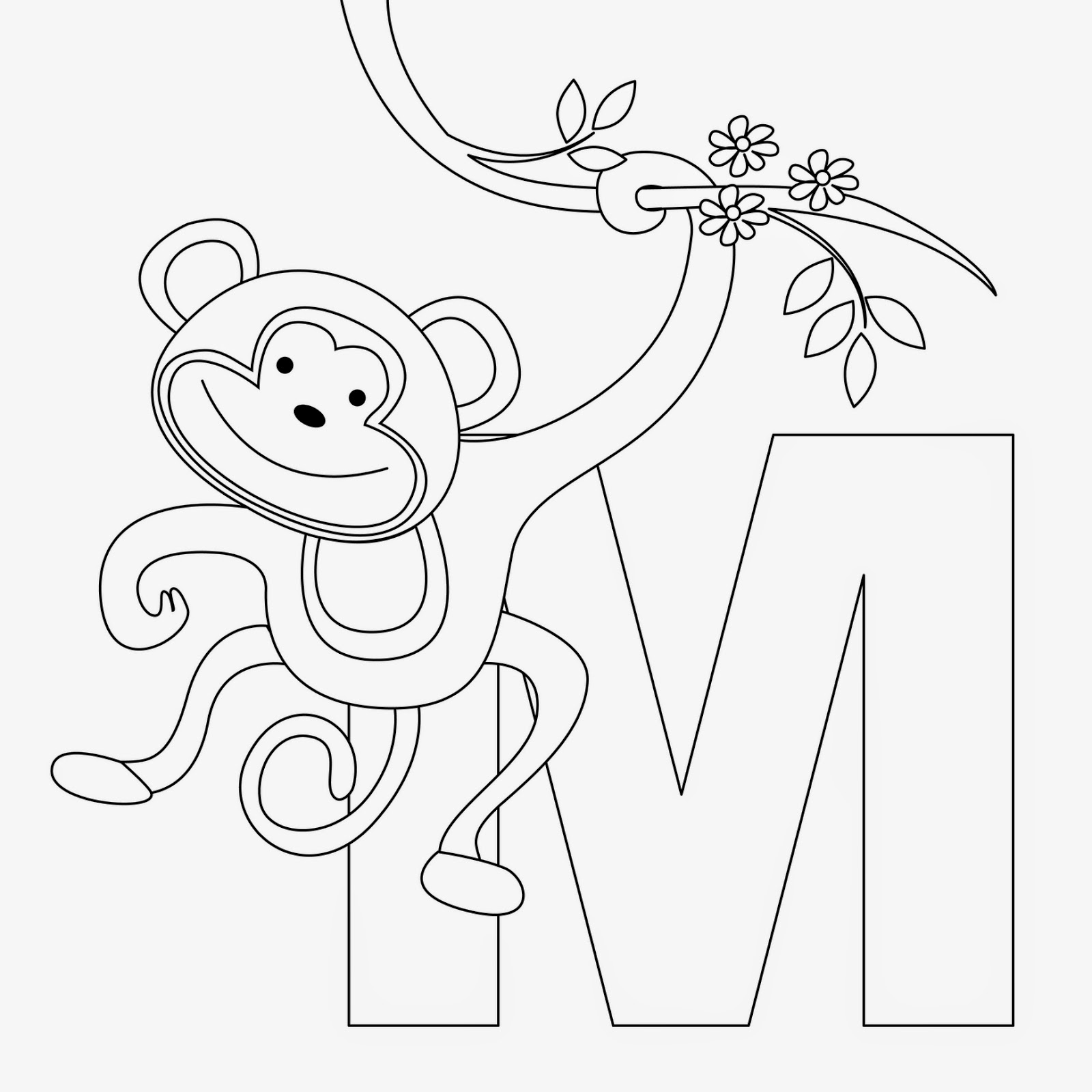 Kids Page M Is For Monkey