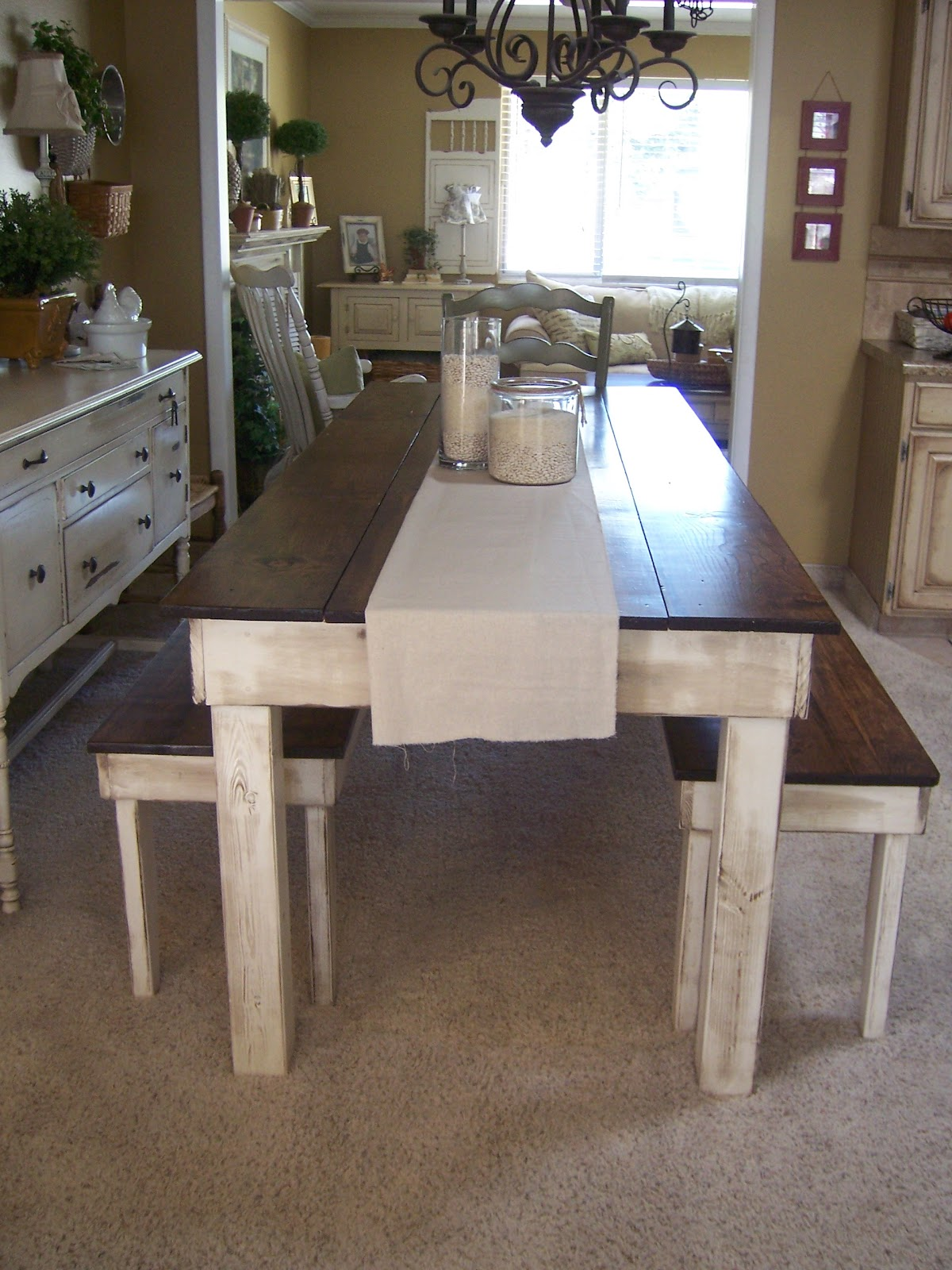 Farmhouse Table And Chairs With Bench Black White Cottage Charm Creations Provincial