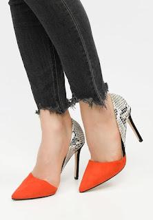 Pantofi cu toc de zi eleganti piele co intoarsa Portocalii