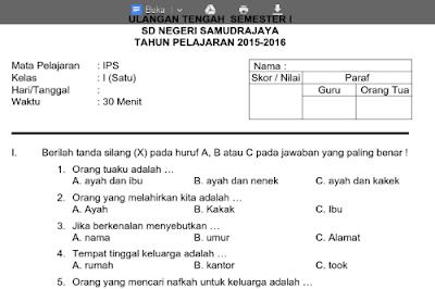Soal UTS kelas 1 semester 1