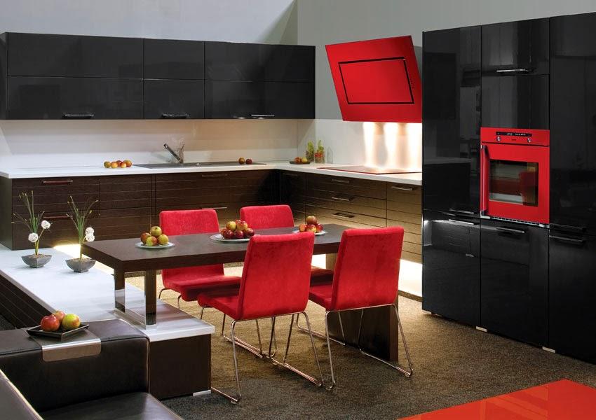 Cocinas integrales modernas en rojo y negro colores en casa - Cocinas en rojo ...