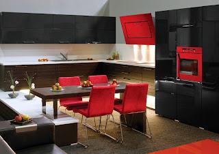 Diseño de cocina en rojo y negro