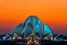 lotus temple view in evening or sunset time