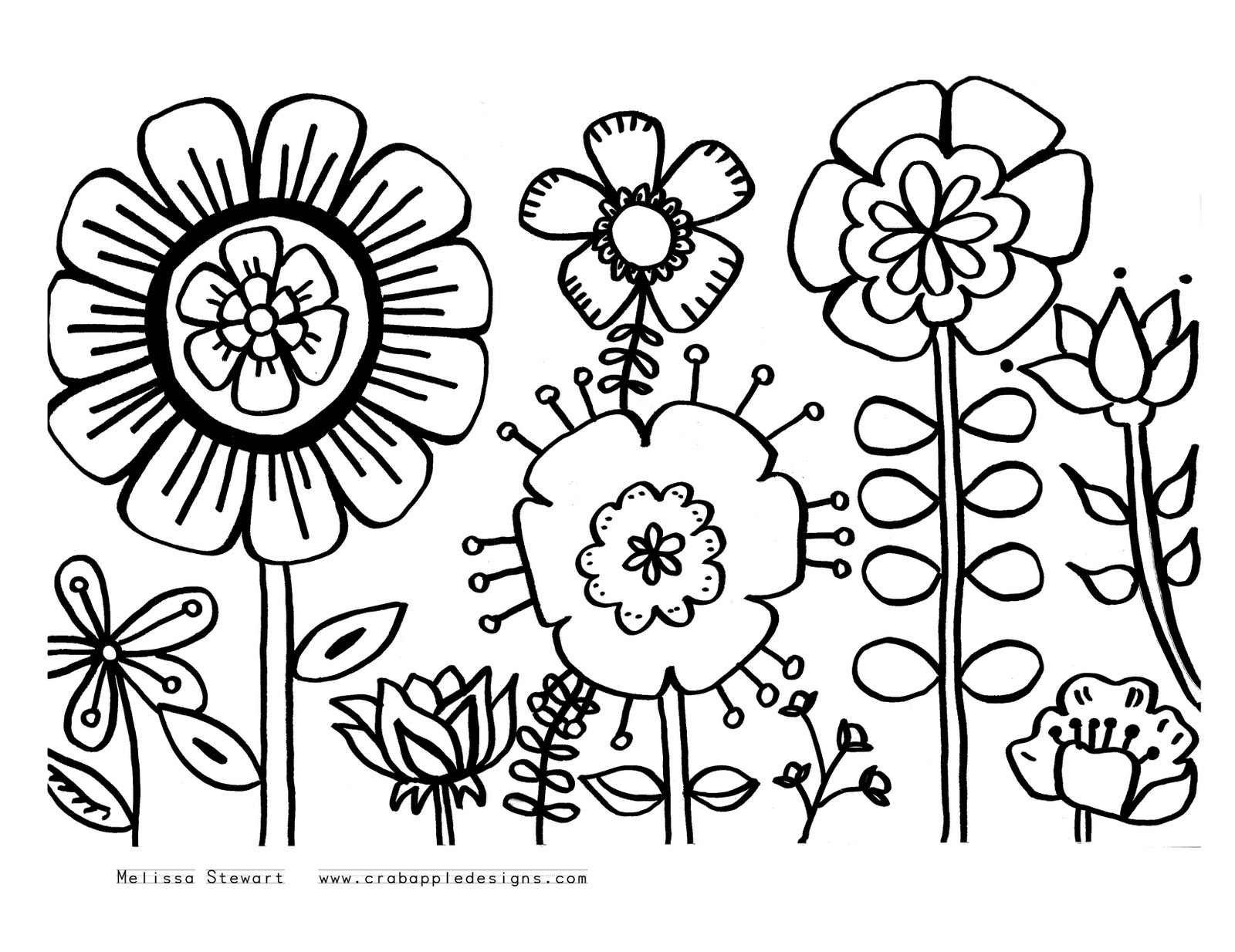 coloring in pages flowers | At Home With Crab Apple Designs: November 2011