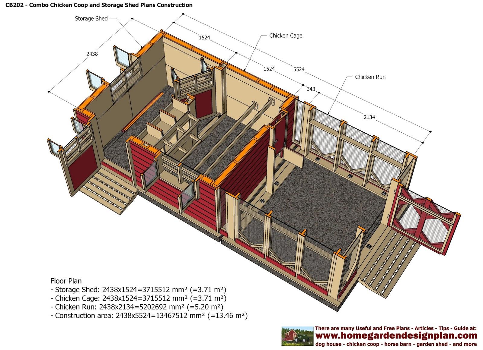 CB202 Combo Plans Chicken Coop Plans Construction Garden ...