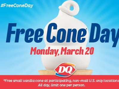Today is Free Cone Day at Participating Dairy Queen Locations! #FreeConeDay
