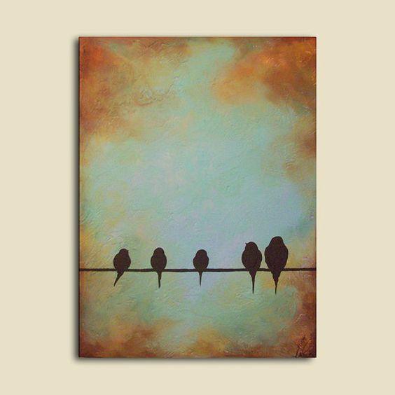quadro de pássaros