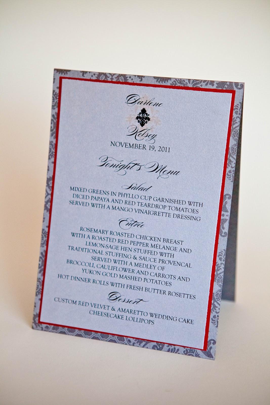 & Wedding Menu Tent Card Kindly RSVP Designs Blog