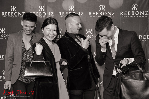 Leo Pimpa,Vivienne Shui, Glen Fitzgerald, Jason Neophytou. Fashionable young men and VivialaViv at the media wall. #Reebonz #reebonzauthree Photo by Kent Johnson for Street Fashion Sydney.