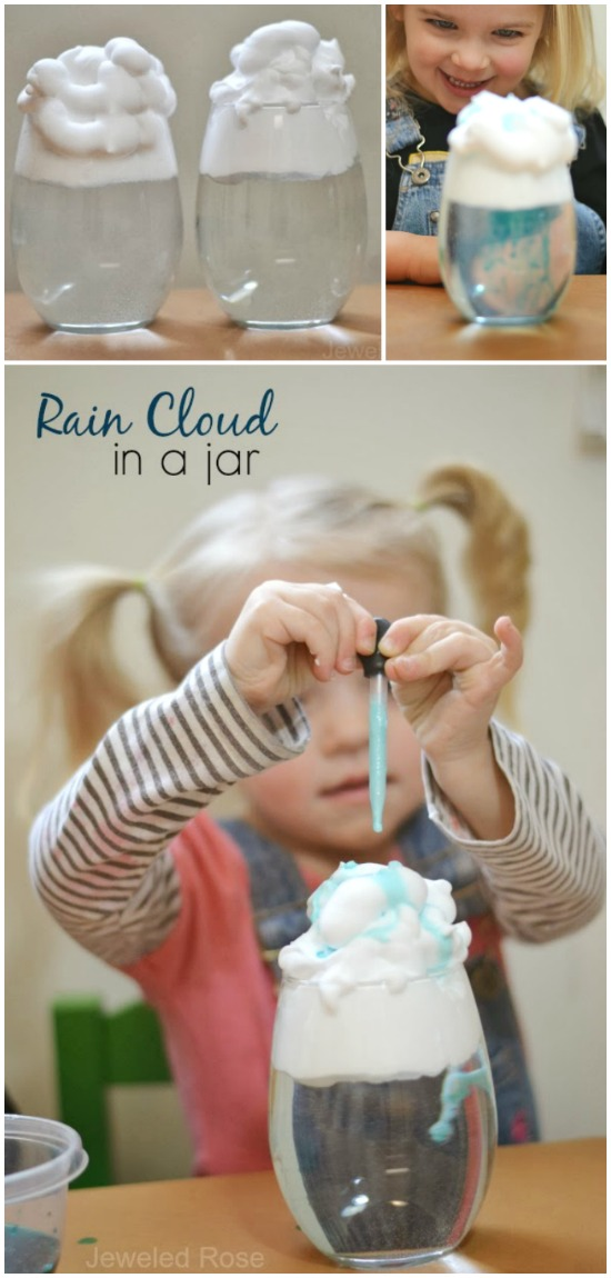 Explore the weather cycle and why it rains with this fun science experiment for kids.  Making rain clouds in a jar makes for a great science fair project, too! #raincloudinajar #rainclouds #raincloudexperiment #weatheractivitiespreschool #weatherexperimentsforkids #scienceexperiments #scienceexperimentskids #scienceforkids