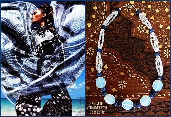 Glam Chameleon Jewelry milky white quartz and sodalite necklace