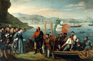 A painting by an unknown artist shows soldiers boarding a boat on the shore at Quarto with the steamships in the background