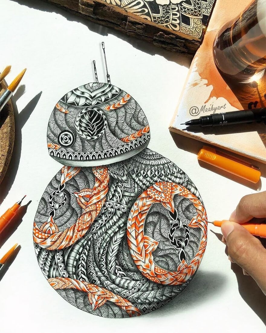06-BB8-Star-Wars-Art-Maahy-Drawings-Given-the-Zentangle-Treatment-www-designstack-co