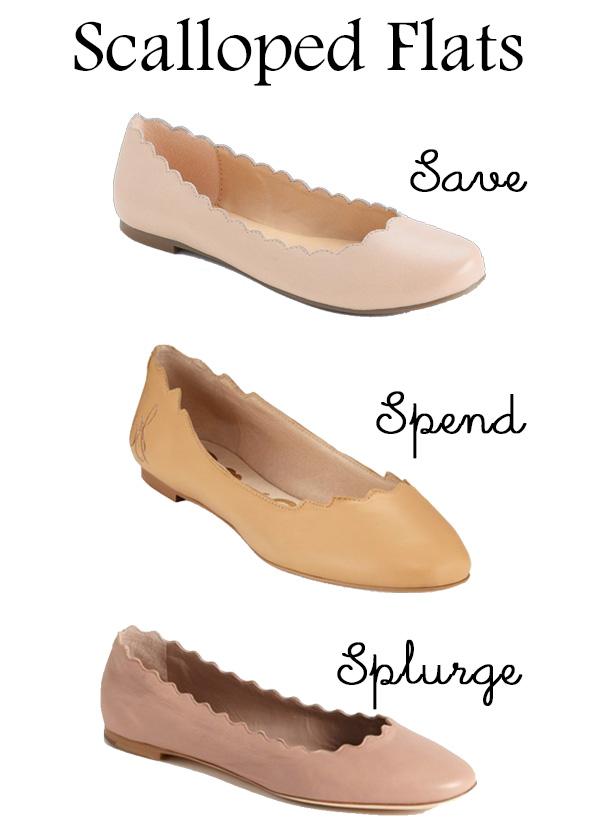 Save Spend Splurge Scalloped Ballet Flats