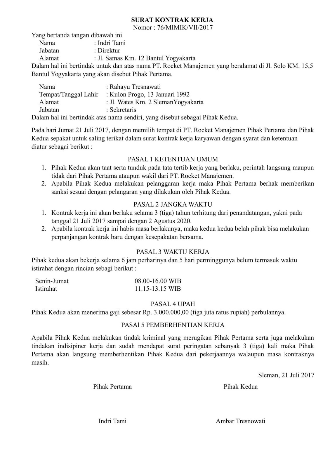 Contoh Surat Perjanjian Kontrak Kerja Karyawan Swasta Pdf ...