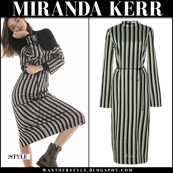 Miranda Kerr in striped dress protagonist and ankle boots the row the edit september 2017