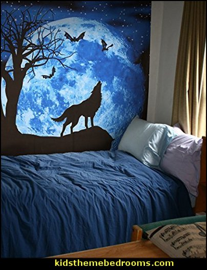 Howling Wolf Tapestry Wall Hanging  twilight bedroom decorating ideas - twilight bedroom decor - twilight bedroom ideas  -  twilight saga home decor - twilight saga themed bedroom ideas - bedding ideas for a twilight bedroom  - twilight jacob bedroom ideas  -  twilight edward bedroom decorating ideas -  twilight bella swan bedroom ideas -  Twilight Edward vampire bedroom -  Twilight wolf bedroom Jacob bedroom ideas - Twilight Saga Movie Posters  - Twilight themed bedroom for teens - movie themed bedroom ideas