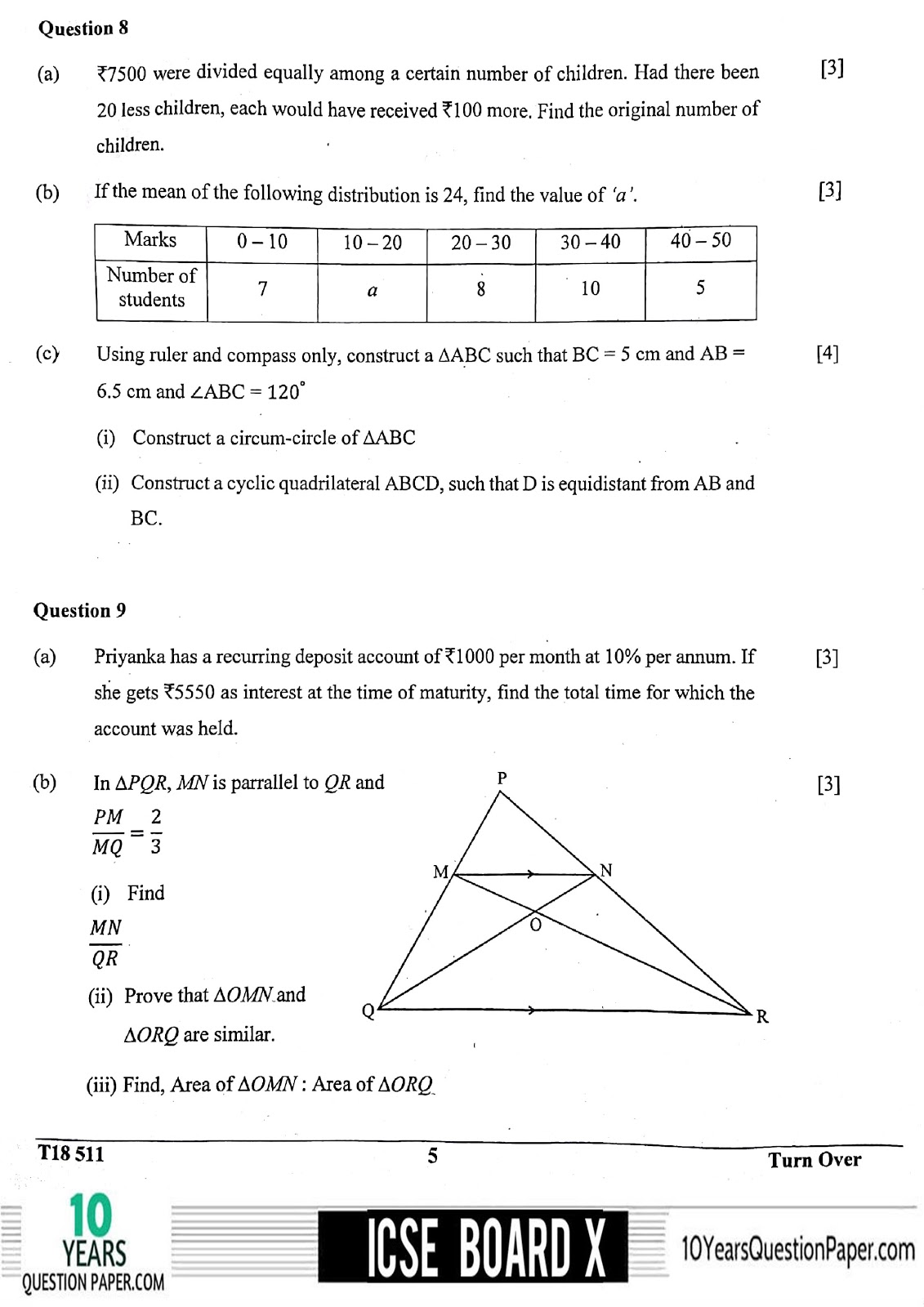 ICSE Board 2018 Mathematics Question paper page-05