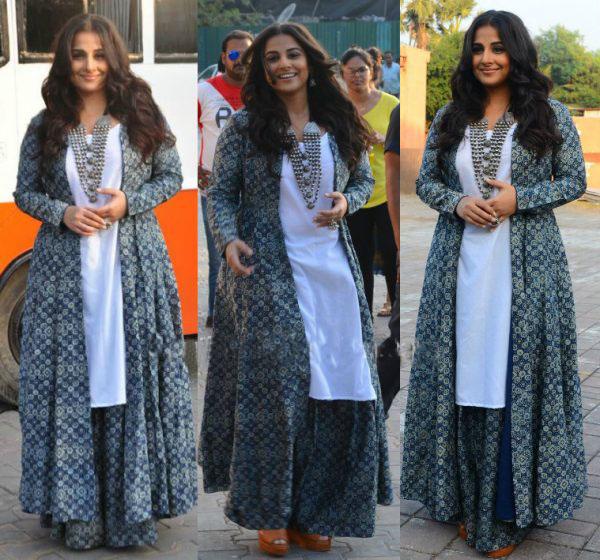 Vidya Balan in White Kurta with Printed Palazzos Matching Jacket by Zoraya