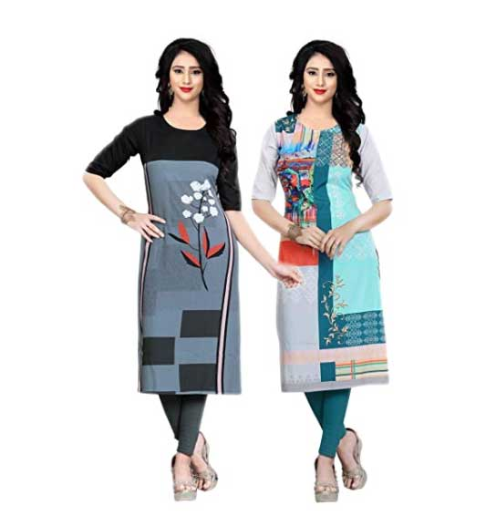 Navlik Women's Crepe Stitched Kurti Combo Pack of 2