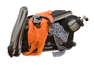 Diving gear in suitcase.