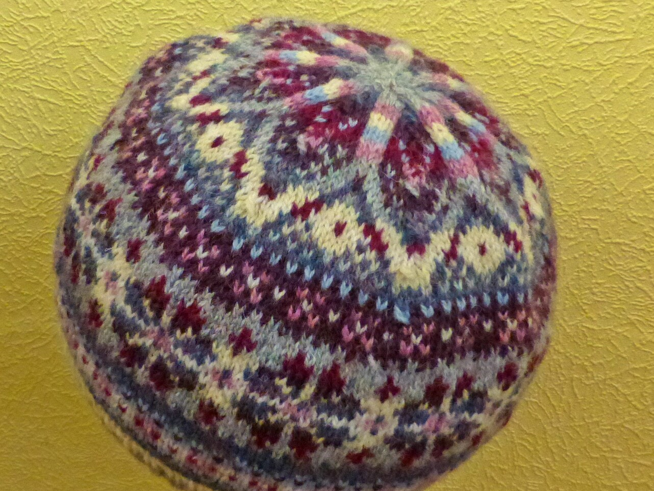 Yellow, Pink and Sparkly: Fair Isle Hat