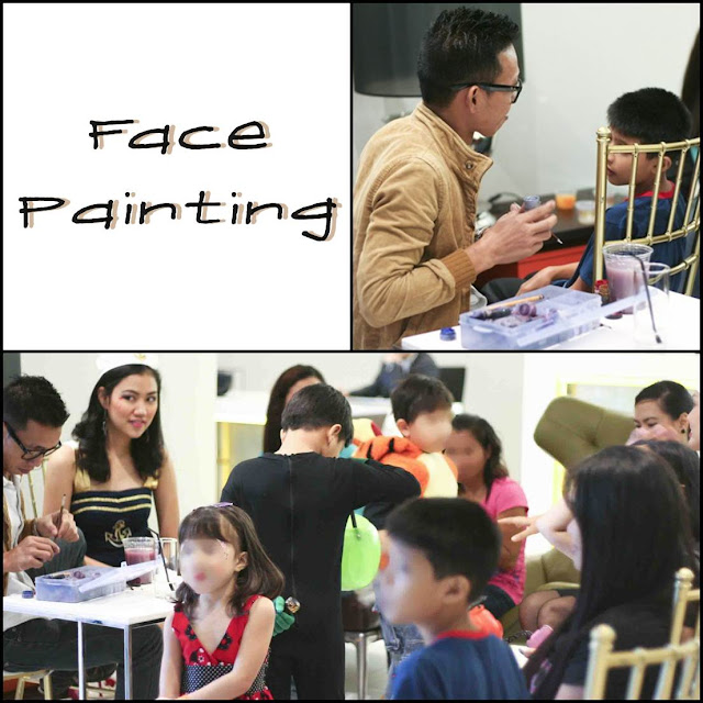 Face painting at a Halloween event