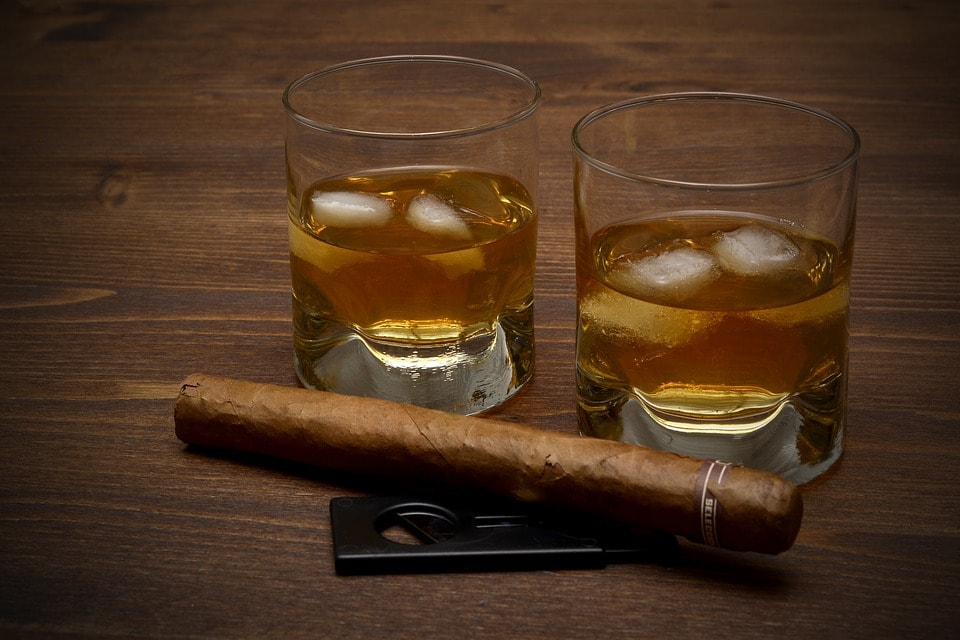 alcohol and cigar