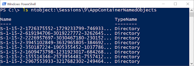 "Listing the AppContainerNamedObjects directory with ""ls ntobject:\Sessions\9\AppContainerNamedObjects""."