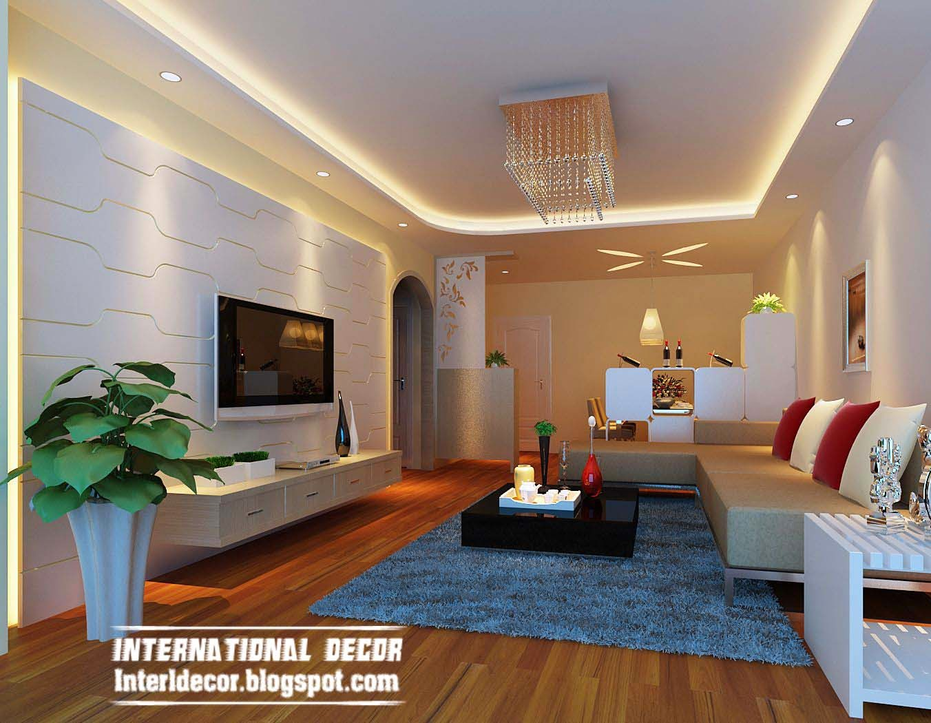 suspended ceiling pop design lighting for living room interior wall paneling 2014