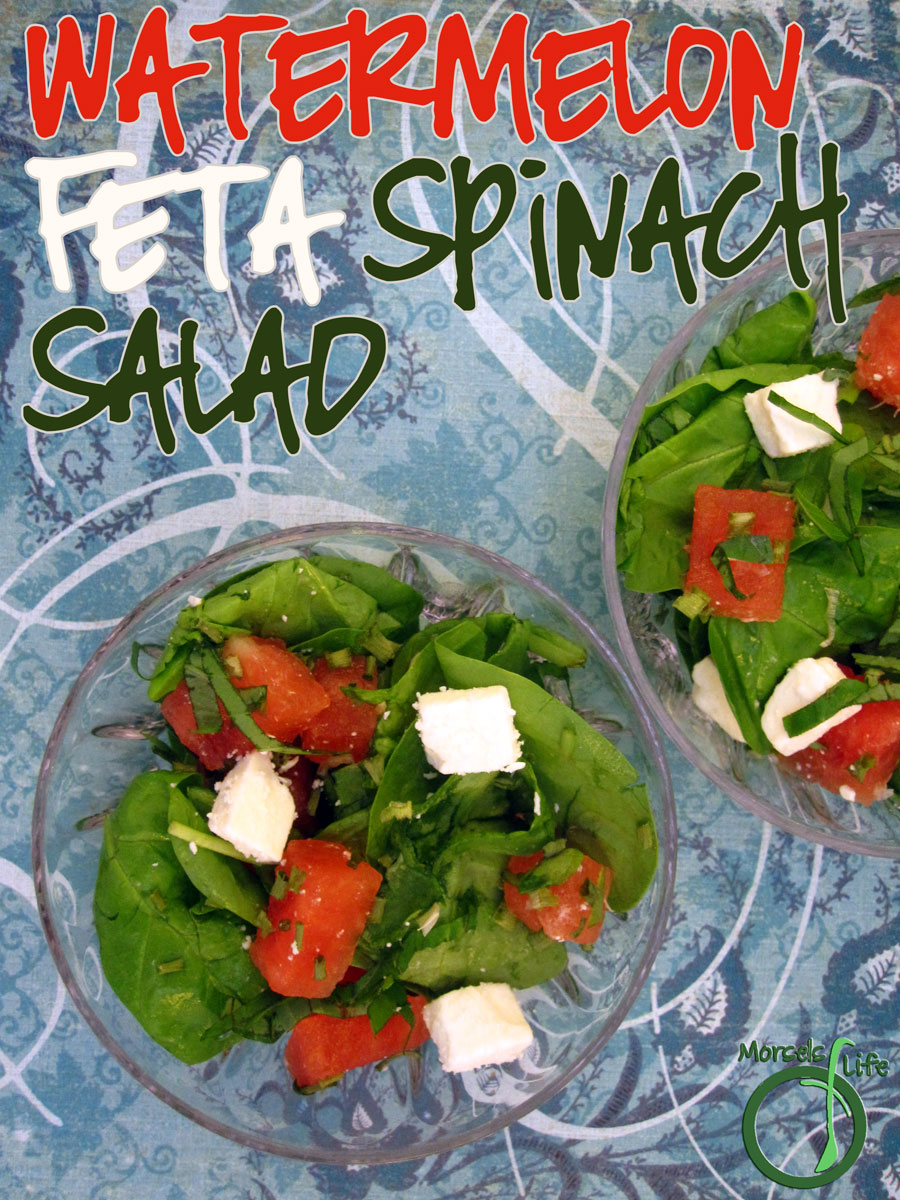 Morsels of Life - Watermelon Feta Spinach Salad - Combine some sweet watermelon with savory feta cheese, flavored up with some basil in a bed of spinach and make yourself a watermelon spinach feta salad. Drizzle some balsamic on top if you're feeling fancy!