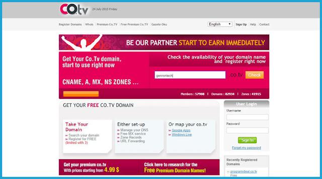domain gratis co tv