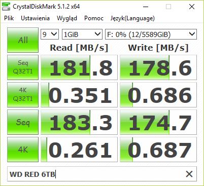 CrystalDiskMark na WD 6TB (WD60EFRX)